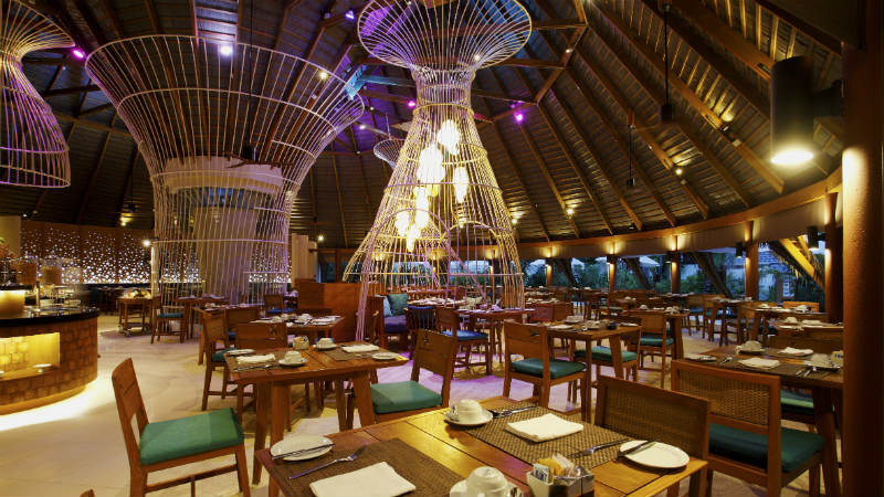 Oceans restaurant dining room at the Centara Ras Fushi Resort and Spa Maldives
