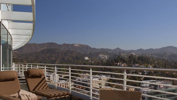 Producer Suite at the Loews Hollywood hotel, overlooking Hollywood hills