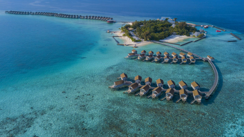 Overview shot of the Centara Ras Fushi Resort and Spa Maldives