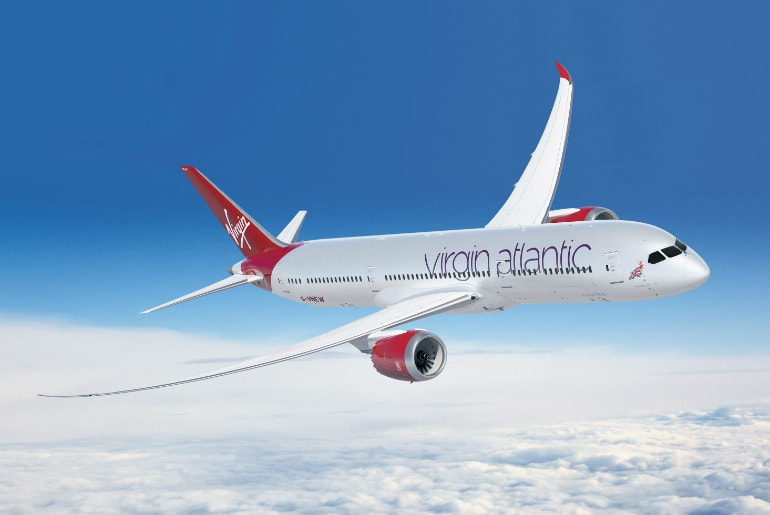 Virgin Atlantic 787 flying in the sky