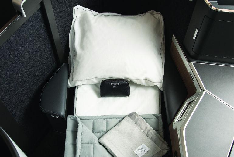 Bedding in the new British Airways Club Suite