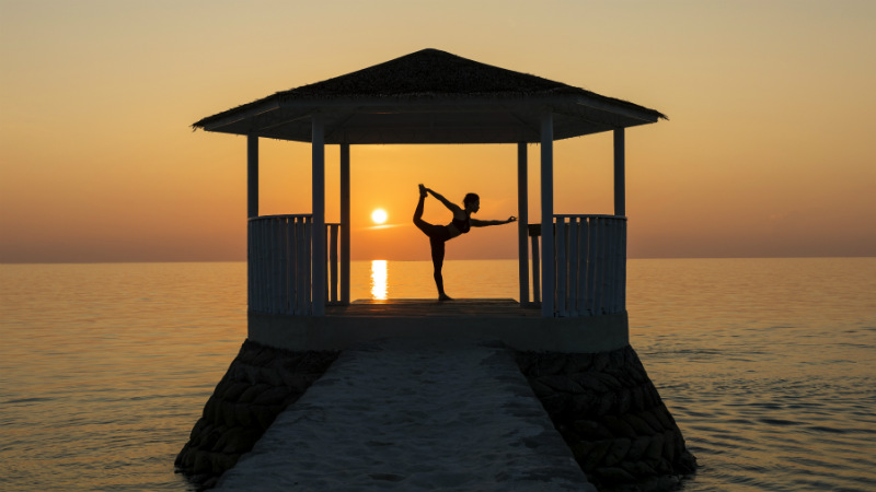 Yoga platform at the Centara Ras Fushi Resort and Spa Maldives