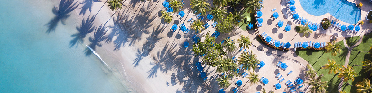 Aerial shot of umbrellas under palm trees at St James Club Morgan Bay