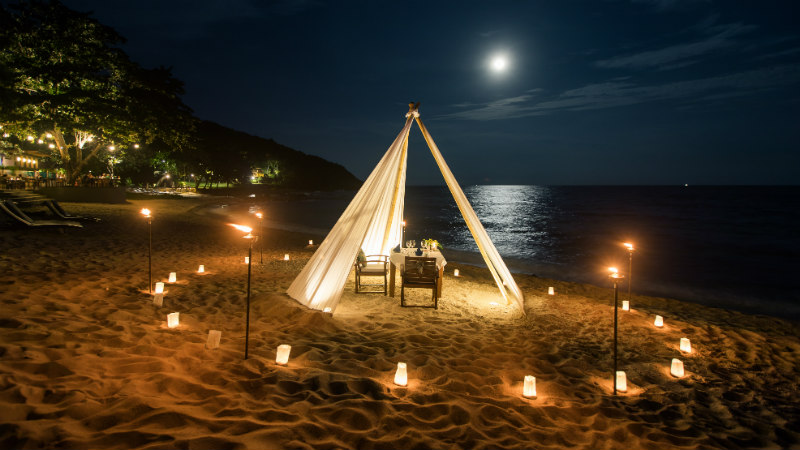 Private dining tee-pee on the beach at Outrigger Koh Samui