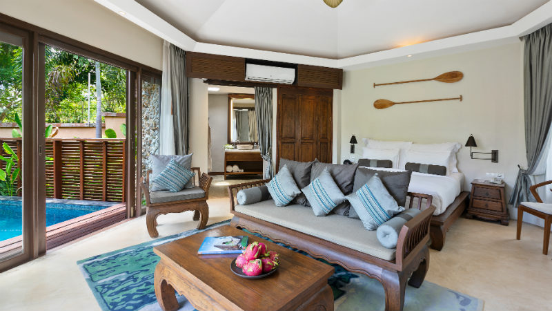 Living room of the Plunge Pool Suite at Outrigger Koh Samui