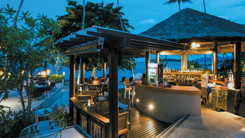 Pool bar at dusk at Outrigger Koh Samui