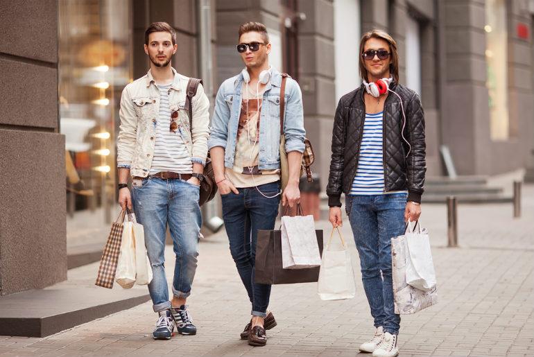 Three males fashion shopping in Milan