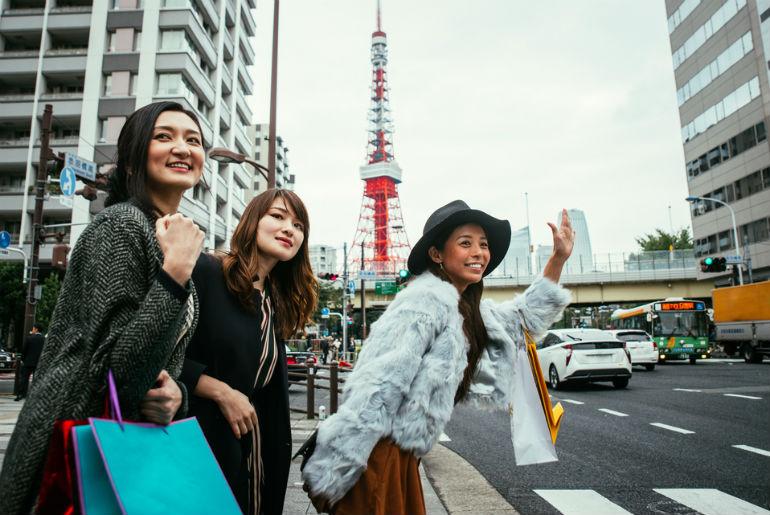 Three woman shopping in Tokyo