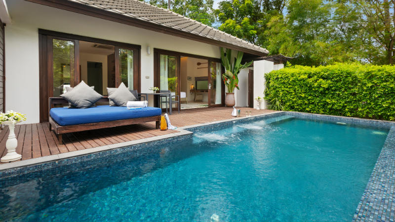 Day bed and private pool in a villa at Outrigger Koh Samui