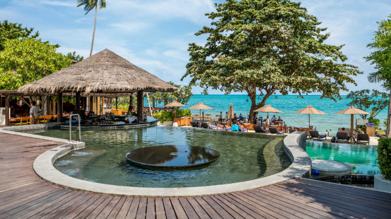 Pool with ocean views at Outrigger Koh Samui