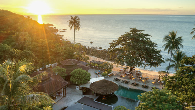 Aerial view of the resort at sunset at Outrigger Koh Samui