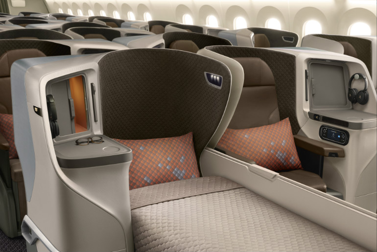 Business Class seat on Singapore Airlines Boeing 787-10