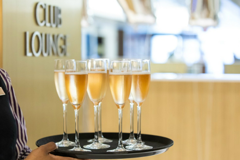 Champagne glasses at the British Airways new luxury lounge in the US