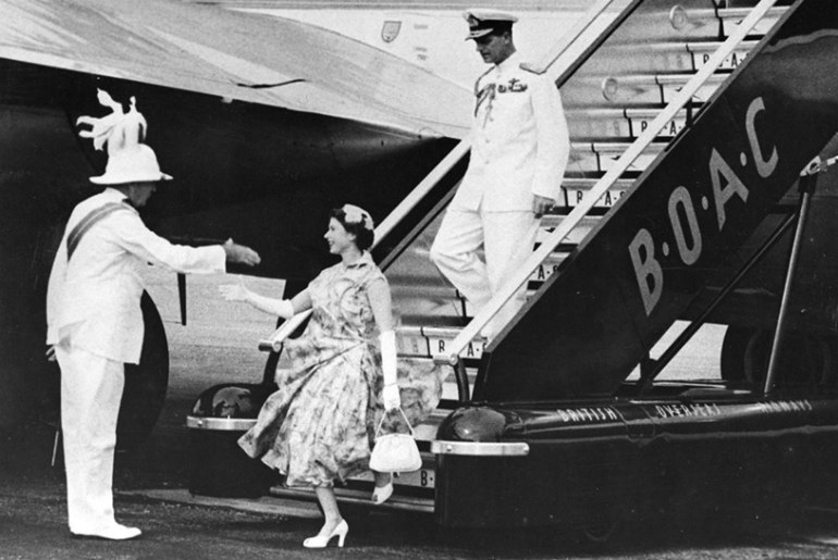 images from 1951 when the then HRH Princess Elizabeth and HRH The Duke of Edinburgh made their first transatlantic flight on a Boeing Stratocruiser from London to Montreal