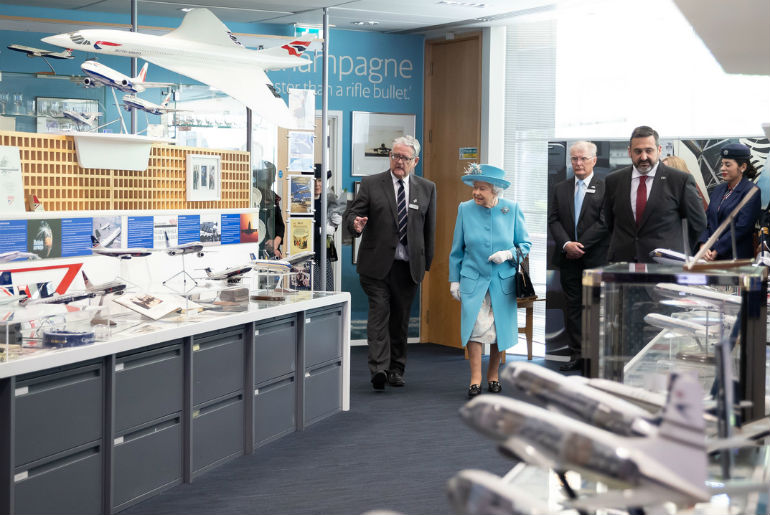 Her Majesty The Queen being shown the British Airways Headquarters