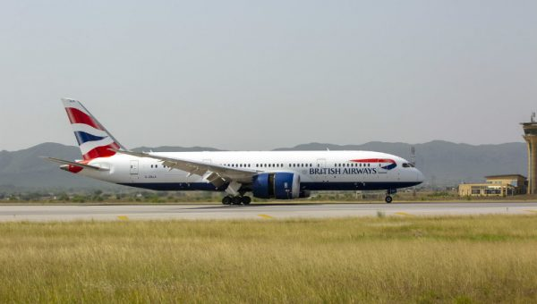 BA 787 touches down