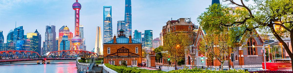 Shanghai city skyline at sunset