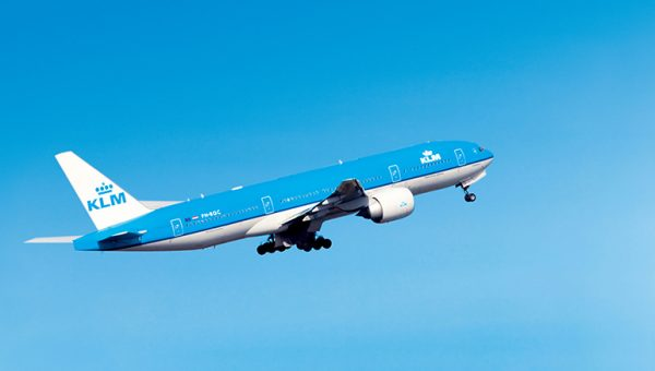KLM Boeing 777 in flight