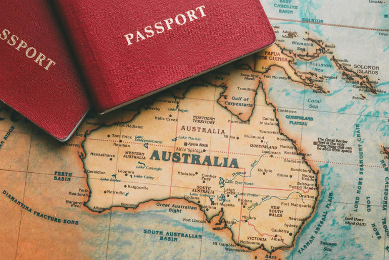 Australian map with passport