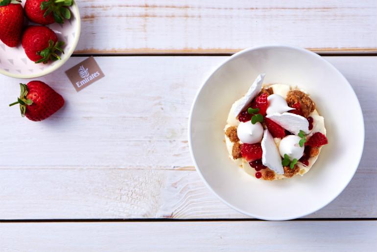 Emirates Eton mess with strawberries