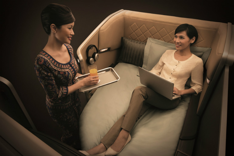 first class Singapore airlines cabin