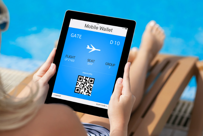 mobile wallet and plane ticket