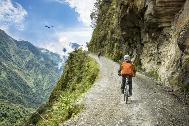 Road of death downhill track in Bolivia