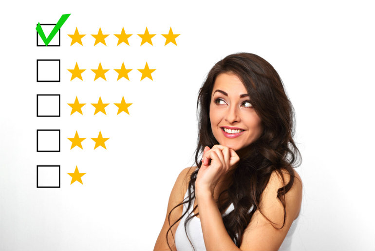 a lady giving a five star rating