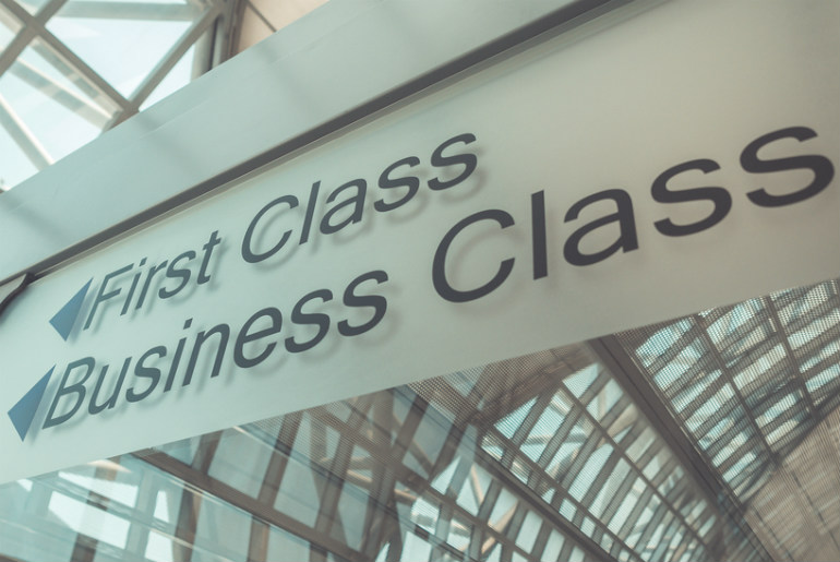 First Class and Business Class sign