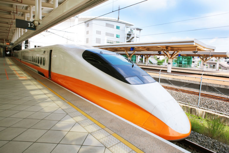 High speed bullet train by the railway station