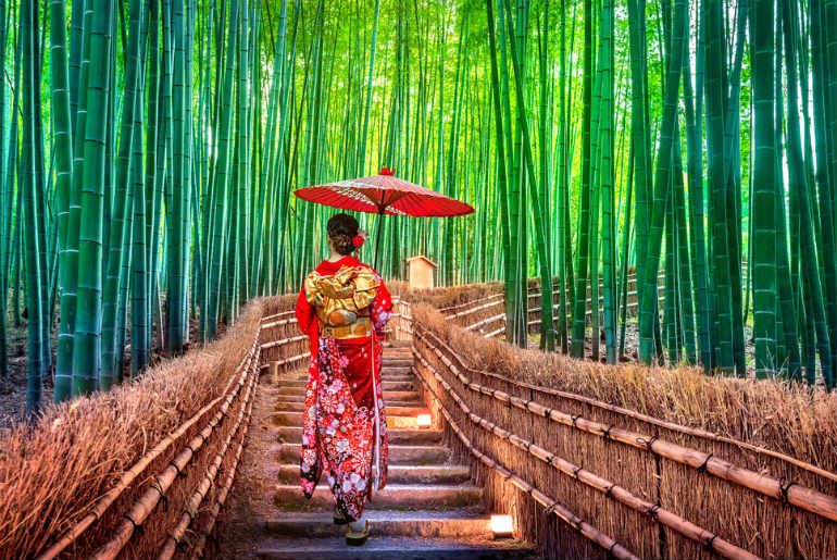japanese traditional kimono at Bamboo Forest in Kyoto