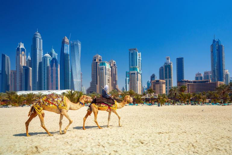 Jumeirah beach and skyscrapers in Dubai
