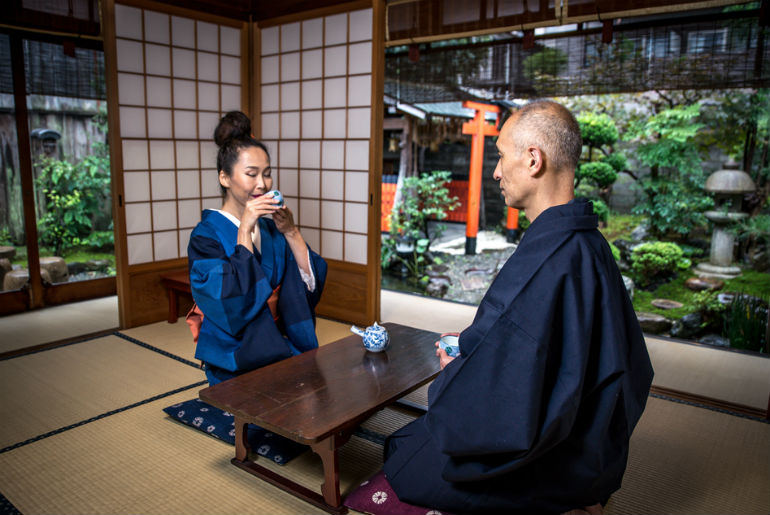 Senior couple lifestyle moments in a traditional japan