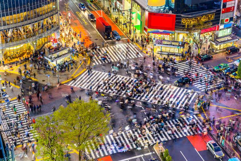 Tokyo Japan view of Shibuya Crossing