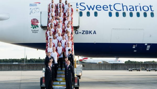 The England rugby team in front of a british airways dream liner