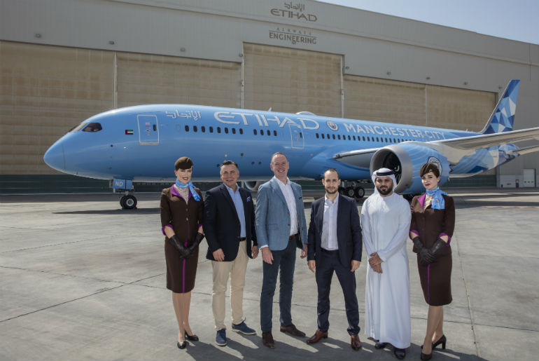 VIP guests at the Etihad Airways unveiling of the Manchester City FC new Dreamliner