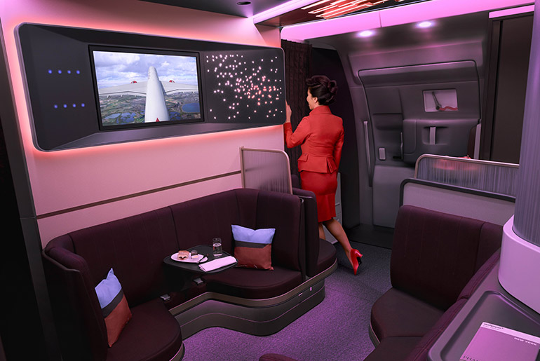 "Virgin Atlantic the on board lounge, ""The loft"""