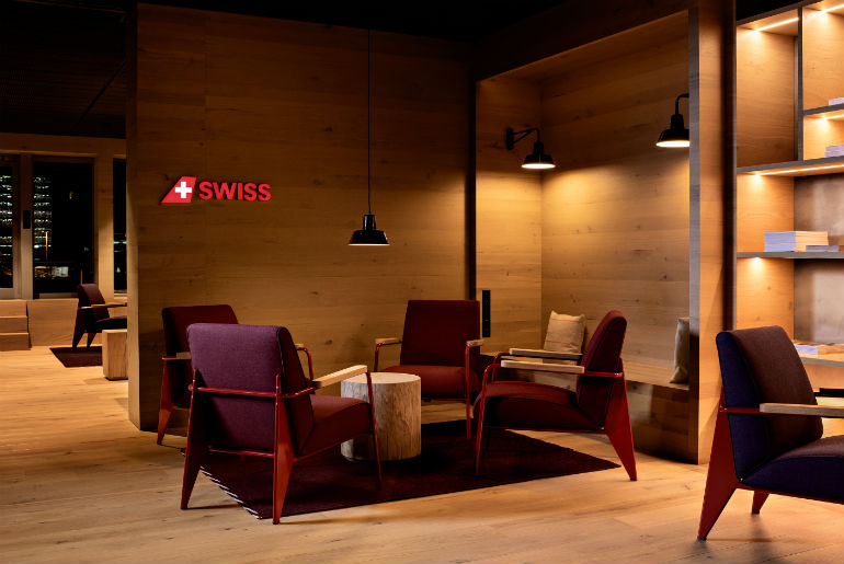 SWISS Zurich lounge lounge with Swiss logo