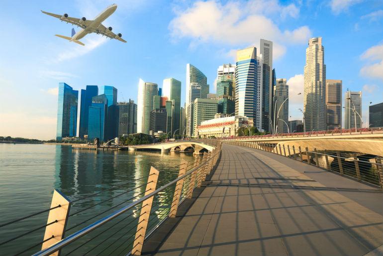 Flight coming into Singapore city
